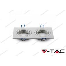 Portafaretto orientabile da incasso per 2 faretti V-TAC VT-783 quadrato bianco 173 x 91 x 25 mm