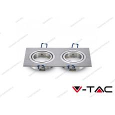 Portafaretto orientabile da incasso per 2 faretti V-TAC VT-783 rotondo alluminio 173 x 91 x 25 mm