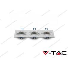 Portafaretto orientabile da incasso per 3 faretti V-TAC VT-784 quadrato bianco 255 x 91 x 25 mm