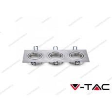 Portafaretto da incasso orientabile per 3 faretti V-TAC VT-784 aluminium brush 255 x 91 x 25 mm
