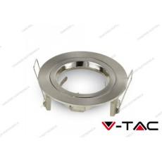 Portafaretto da incasso V-TAC VT-774 per faretti GU10/GU 5.3 rotondo Φ81 x 34 mm nichel satinato