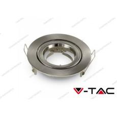 Portafaretto orientabile da incasso V-TAC VT-775 rotondo nichel satinato Φ95 x 32 mm